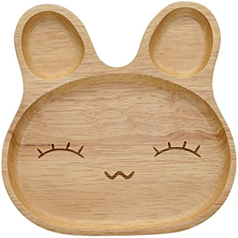 Geeklife® Cute Baby Rubber Wood Plate,Creative Rubbit Pattern Kid Serving Dishes,Safe and Eco-friendly (Happy Face) by Geeklife