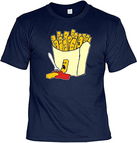 Witziges T-Shirt zum Thema Fast Food: Frittis (Größe: M) T-Shirt - mit lustiger Urkunde !! Farbe: navy-blau
