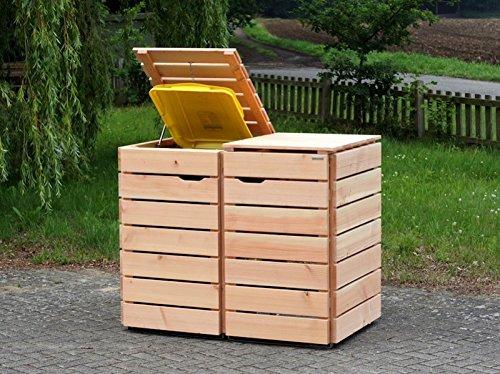 2er Mülltonnenbox / Mülltonnenverkleidung 240 L Holz, Douglasie Natur - 2