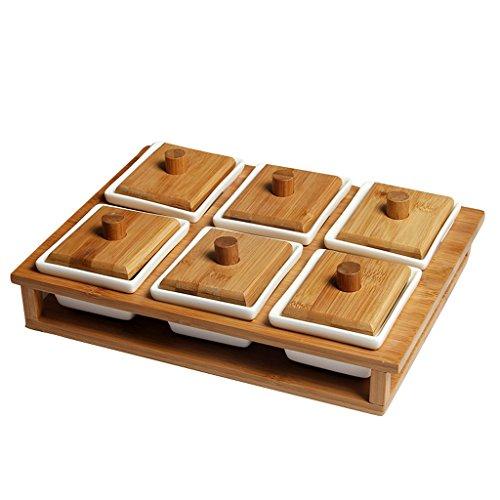 Fruit Plate Céramique Bambou Avec Couverture Plaque De Cercle Plateau De Gâteau Plateau De Dessert