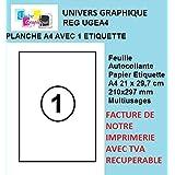 50 feuilles A4 papier adhésif blanc - Étiquette autocollante 210x297mm - planche adhésive permanente marque UNIVERS GRAPHIQUE- UGEA4 FACTURE AVEC TVA DÉDUCTIBLE