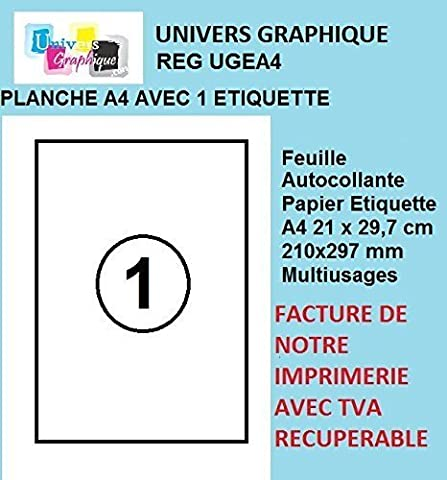 50 feuilles A4 papier adhésif blanc - Étiquette autocollante 210x297mm