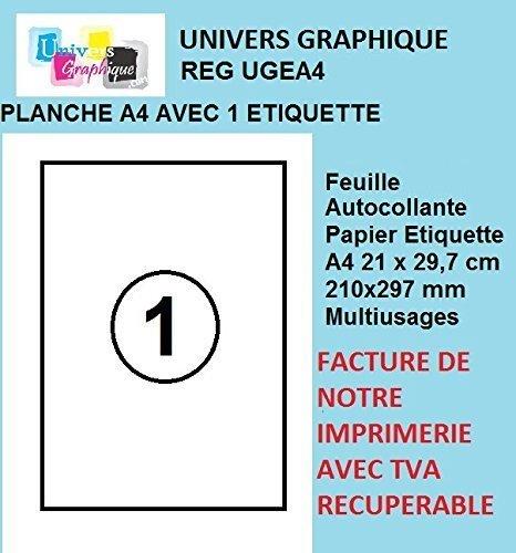 Univers Graphique UGEA4 - 50fogli A4di carta adesiva, colore: bianco, etichette adesive da 210x 297mm