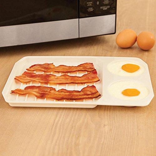 Baking Tray , Xshuai® Microwave Cookware Creative Bacon And Egg Rack Bacon Tray Baking Tray (White)