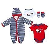 Baby-Jungen Erstausstattung, Baby-Jungen 5 Teiler Erstausstattung Just Too Cute 5 Teiler, Blau Rot, in Größe 40/50