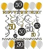 50.Geburtstag Dekoration Deko-Set 'Sparkling' Gold Silber Happy Birthday Partykette Girlande Konfetti Fünfzig Jahre