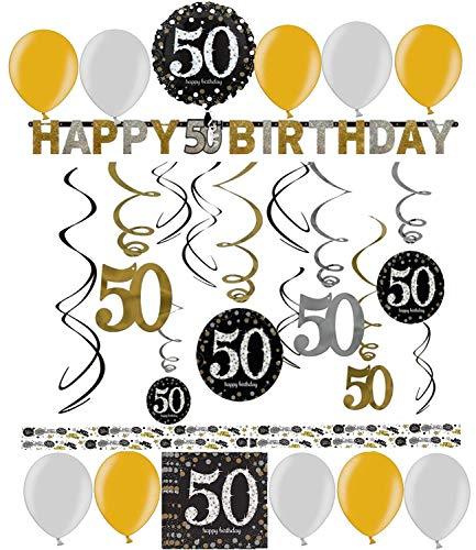 50.Geburtstag Dekoration Deko-Set 'Sparkling' Gold Silber Happy Birthday Partykette Girlande Konfetti Fünfzig ()