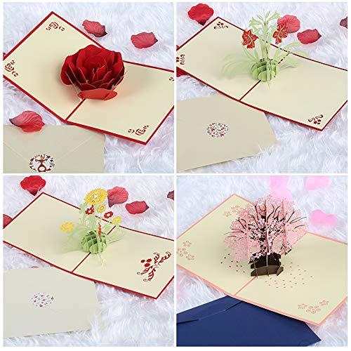 Kesote 3d biglietti di auguri in stile di 4 fiori diversi 3d biglietti d'auguri per anniversario, san valentino, festa della mamma, set di 4