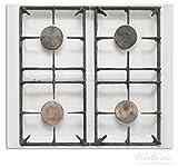 Wallario Herdabdeckplatte / Spritzschutz aus Glas, 2-teilig, 60x52cm, für Ceran- und Induktionsherde, Alter Gasherd, ungeputzt und dreckig
