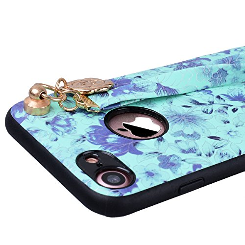 """SMART LEGEND Coque iPhone 7, Etui iPhone 7 pour Fille, PC Plastique Dur Hard Bumper Case Cover Shell Coque Housse pour Apple iPhone 7 4.7"""" avec Wrist Strap, Motif Mandala Fleur Etui de Protection Anti Vert"""