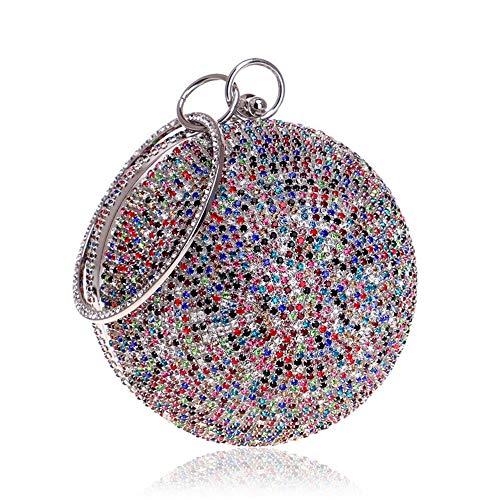 Melodycp Abendtasche Damen Ball Shape Diamante Party Hochzeit Cocktail Handtasche Balltasche Elegant Silber
