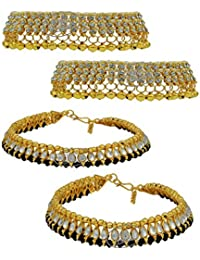 High Trendz Combo Of Two Bollywood Style Ethnic Gold Plated Anklets With Ghungroos, Cz Stones And Kundan Studded... - B06XHRN3Z7