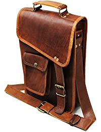28 Cm Bolso Bandolera Laptop Bag Bolsa De Hombro Cuerpo Cruzado Grande para Mensajero Mensajeria De Cuero Piel Marron Portatil Notebook Bag College Office Hombre Y Mujer Leather Messenger Bag