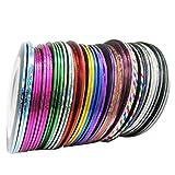 Susenstone Conseils de 32pcs Couleurs Mélangées Rouleaux Striping Tape Ligne Nail Art Sticker Décoration