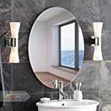 Art Street Oval Elliptical HD Vanity Make Up Glass Mirror Tiles for Wall Decor (17 x 23 inches, Silver)