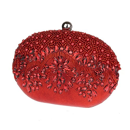 KAXIDY Damen Frauen Abendtasche Elegant Handtashce Party Hochzeit Clutch Rot