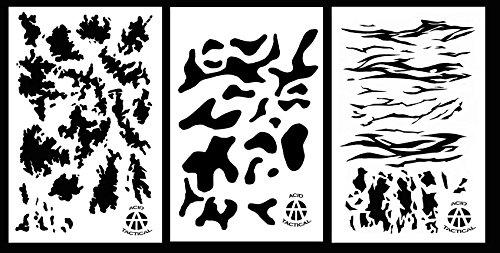 Ácido táctica 3unidades–23x 35cm camuflaje aerógrafo pistola de spray de pintura plantillas–Duracoat (Tac, Multicam, rayas de tigre)