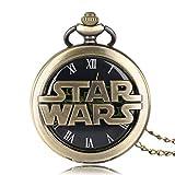 Reloj de Bolsillo de Cuarzo de Star Wars, Reloj de Bolsillo Vintage de Bronce para Hombre, Hombres con diseño de Darthworks Vader