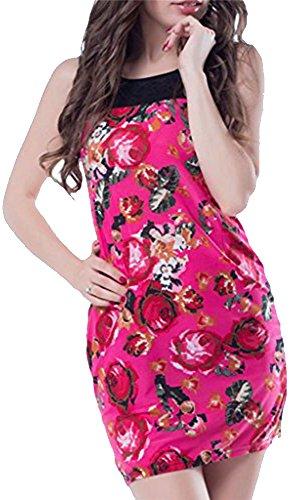 Mini Kleid eng Muster Blumen Fuchsia