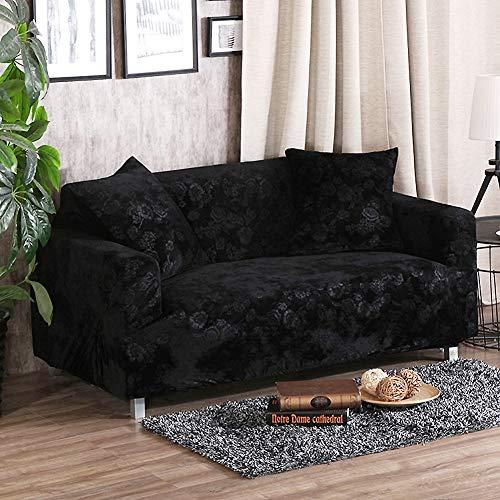 SANDM Elastizität Anti-rutsch Sofabezug mit kissenhüllen, Plüsch Möbel Protector Sofa-Überwürfe Sofabezug Hund Vintage Leder Sofa abdecken-Schwarz Loveseats -