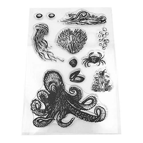 biaobiaoc Unterwasserwelt Silikon klar Siegel Stempel DIY Scrapbooking Präge Fotoalbum dekoratives Papier Karte Handwerk Kunst handgemachtes Geschenk
