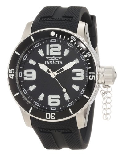Invicta Men's 1670 Specialty Corduba Black Textured Dial Black Polyurethane Watch image
