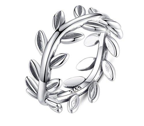 iszie Schmuck Sterling Silber Leaf Ring öffnen verstellbar Retro hohlen Design, Leaf Ring verstellbar Leaf Ring