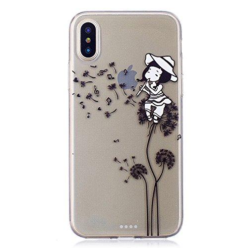 Für iPhone X,Sunrive Schutzhülle Etui Hülle transparent weich ultra slim TPU Silikon Rückschale Silicon Cover Tasche Case Bumper Abdeckung Handyhülle(tpu Wassermelone )+Gratis Universal Eingabestift tpu Musik-Mädchen