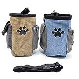 Osuter 2PCS Hunde Futterbeutel, Leckerlitasche Hundetraining Wasserdicht Futtertasche Adjustable für Haustier Drinnen und Draußen