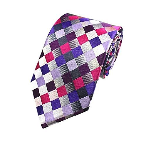 Z-P Mens Color Lattice Luxury Elegant Necktie Knit Woven Jacquard Skinny Tie