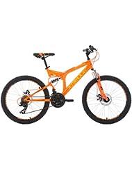 KS Cycling Kinder Mountainbike Fully Mtb Xtraxx Fahrrad, Orange-Gelb, 24