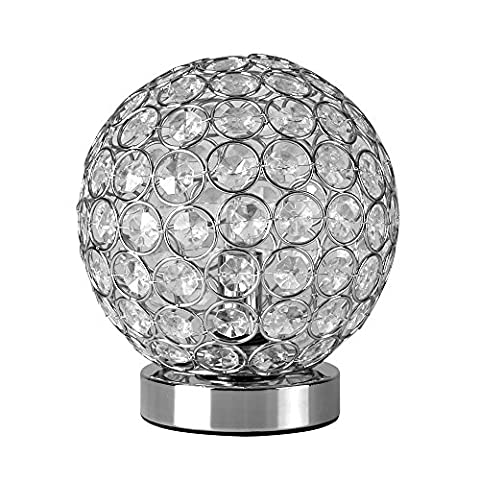 Modern Chrome Touch Table Dimmer Light with Beautiful Acrylic Crystal Effect Jewels