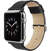 Simpeak Cinturino Sostituzione in Pelle per Apple Watch 42mm Series 1/2 Version 2015 2016, Nero
