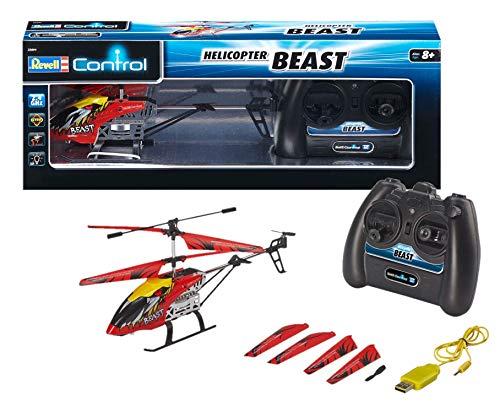 Revell Control RC Hubschrauber, ferngesteuerter Hubschrauber für Einsteiger, 2,4 GHz Fernsteuerung, einfach zu fliegen, Gyro, stabiles Chassis, LED-Beleuchtung, USB-Ladegerät - BEAST 23891