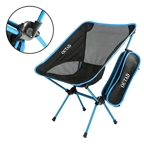 OUTAD Gartenstühle Klappstuhl Campingstuhl Hochlehne Alu Ultraleicht mit Tasche (Himmel blau)
