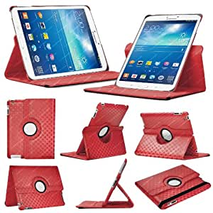 Stuff4 Diamond Designed Leather Smart Case with 360 Degree Rotating Swivel Action and Free Screen Protector/Stylus Touch Pen for 8 inch Samsung Galaxy Tab 3 T310/T311 - Red