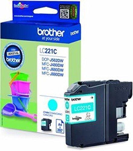 Preisvergleich Produktbild 1x Original Brother Tintenpatrone LC221 LC 221 LC-221 für Brother MFC J 1100 Series - Cyan - Leistung: ca. 260 Seiten
