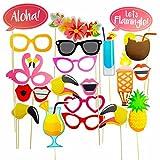 Rxnon Flamingo Hawaii Foto Requisiten Foto Accessoires für Sommer Strand Urlaub Geburtstag Hochzeit Party,21 Stück