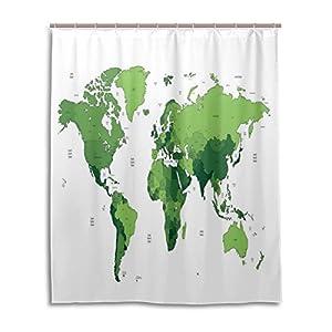 Cortina de ducha de baño 60x 72, verde bosque, diseño de mapamundi tela de poliéster a prueba de moho cortina de baño
