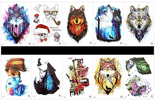 Spestyle 10pcs tattoo animal wolf tatuaggi impermeabile e non tossico tatuaggi finti in 1colli, comprese leopardo, statua della libertà, tigre, lupo, cane, gatto, scimmia, orso, ecc.