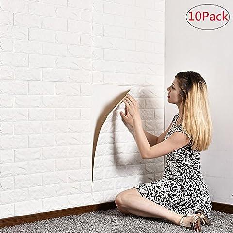 Carrelage 3D en Brique Stickers Muraux en Mousse Dolide Auto-adhésif Anti-collision Pour Enfants Salle de Séjour Salle de Bain Balcon TV Terrain 60x60cm