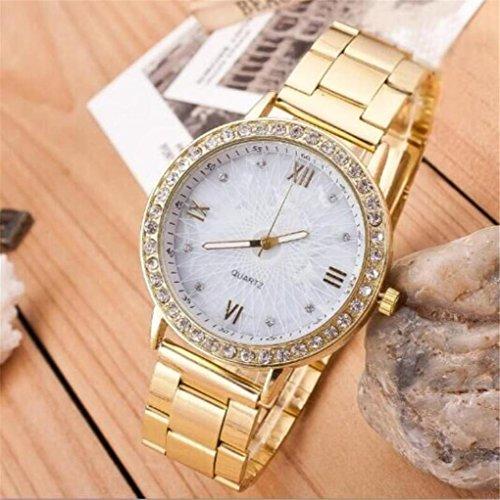 BIAOSHOU® Quarzuhr Frauen Genf Von Außenhandel Explosion Modelle Damen Uhren Stahl Strip Uhr Weiblichen Golden Rose (Genf - Frau In Für Uhr)