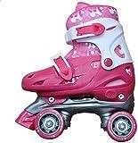 Patines de niña (4 ruedas, bota, color rosa y blanco), niño, - pink + white, UK 11½ -1