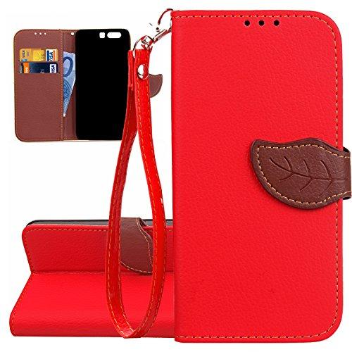 Hülle für Huawei P10, Tasche für Huawei P10, Case Cover für Huawei P10, ISAKEN Blume Schmetterling Muster Folio PU Leder Flip Cover Brieftasche Geldbörse Wallet Case Ledertasche Handyhülle Tasche Case Blattwerk Rot
