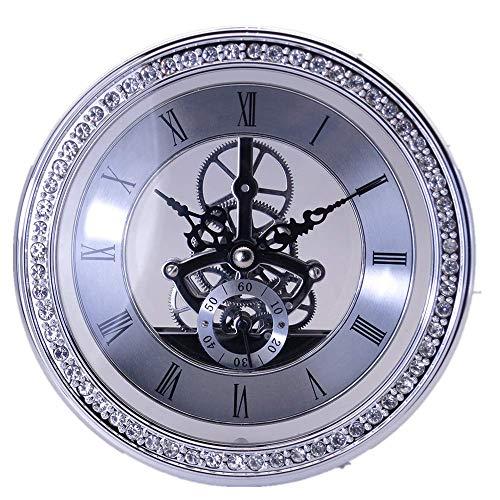 DEEWISH Uhrwerk,Transparent Skeleton Clock Inserts Einbau-Uhr Quartz Uhrwerk Tischuhr funkuhr Hochwertiger Europäischer Stil Clock DIY (Diameter 148mm, Silber)