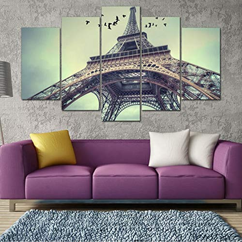 mmwin Leinwand Wandkunst Bilder Dekoration Wohnzimmer Poster 5 Stücke Paris Eiffelturm Moderne HD Gedruckt Modulare -