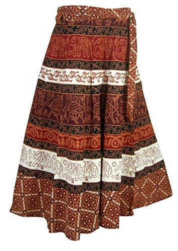 Inde Vêtements Designer Multicolore Enrouler Autour Jupe en Coton Tenue Multicolore4