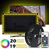 Striscia LED RGB 20 Colori, Mroty Retroilluminazione TV 2,2M Impermeabile, Flessibile, Accorciabile ed Anti-Polvere, Alimentatore e Telecomando Inclusi