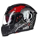 Double visière Full Face Moto Casque Anti Brouillard d'Hiver Chaud Casques de Moto...