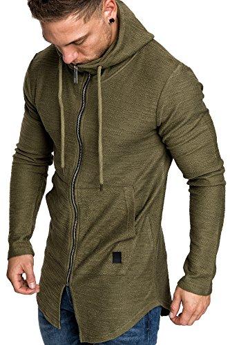 Amaci&Sons Herren Oversize Jacke Kapuzenpullover Sweatshirt Hochkragen Hoodie Sweatjacke Pullover 4009 Khaki M